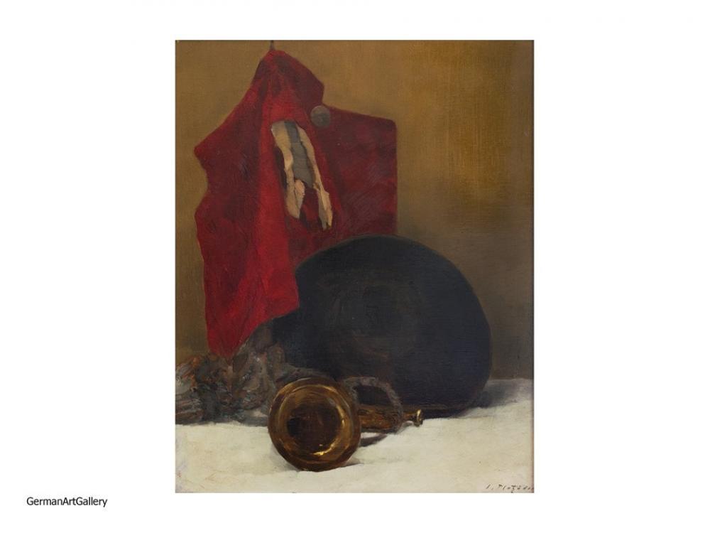 Ludwig Platzöder, Stilleben mit roter Weste und Hut